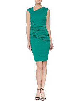 Halston Heritage Ruched Asymmetric-Neck Dress, Emerald