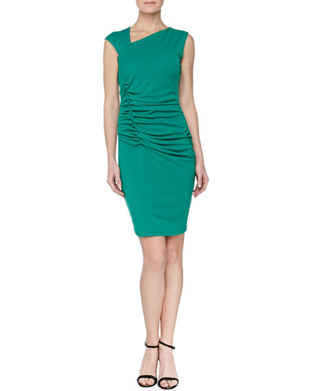 Ruched Asymmetric-Neck Dress, Emerald