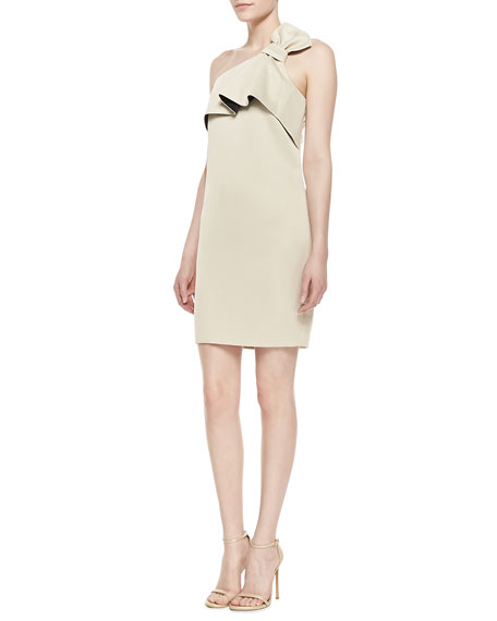 One-Shoulder Bow Dress, Champagne