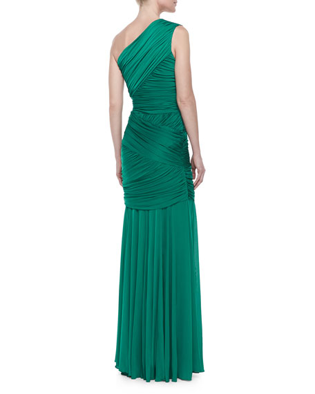 One-Shoulder Ruched Gown, Emerald