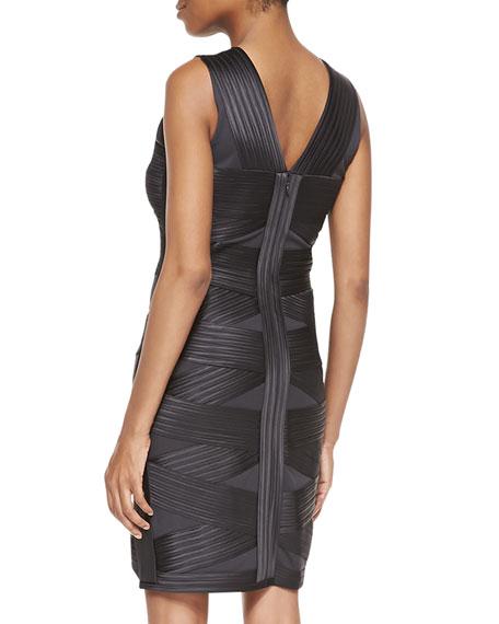 Crisscross Bandage Ponte Dress, Charcoal