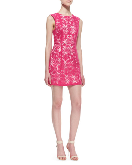 Divine Light Scrolling Lace Dress, Hot Pink