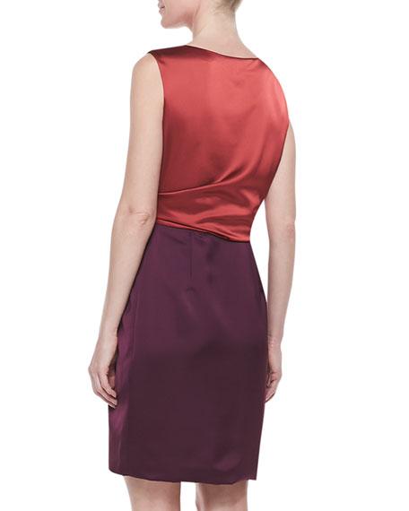 Sleeveless Colorblock Draped Dress, Dark Brick/Bordeaux