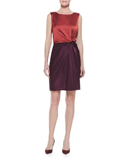 Halston Heritage Sleeveless Colorblock Draped Dress, Dark Brick/Bordeaux
