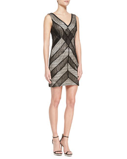 Phoebe by Kay Unger Sleeveless Lace & Leather Combo Cocktail Dress, Black