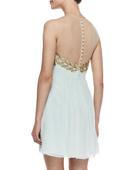 Feather & Chiffon Grecian Cocktail Dress