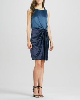 Halston Heritage Sleeveless Colorblock Draped Dress