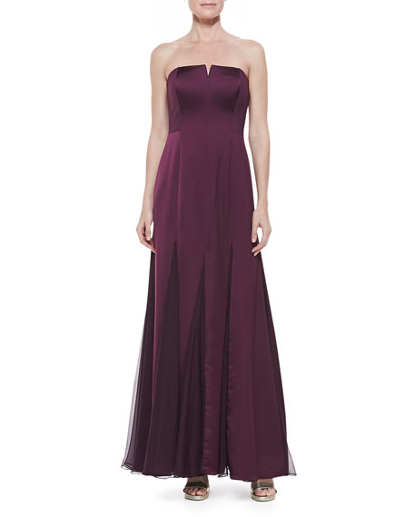 Strapless Sheer-Inset Gown, Bordeaux