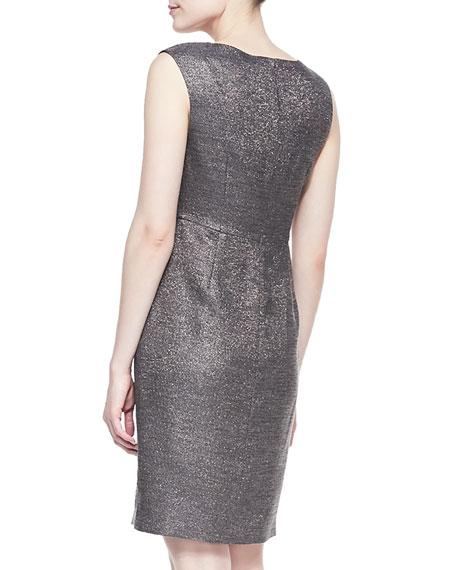 Sleeveless Metallic Dress, Gunmetal