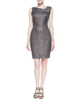 Halston Heritage Sleeveless Metallic Dress, Gunmetal