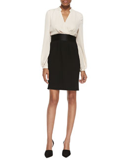 Halston Heritage Long-Sleeve Combo Tux Dress