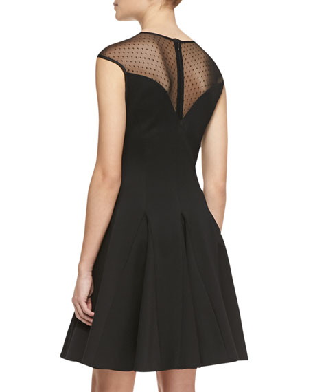 Cap-Sleeve Ponte Illusion Godet Dress, Cadmium