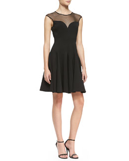 Halston Heritage Cap-Sleeve Ponte Illusion Godet Dress, Black