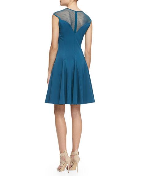 Cap-Sleeve Ponte Illusion Godet Dress, Dark Cadmium