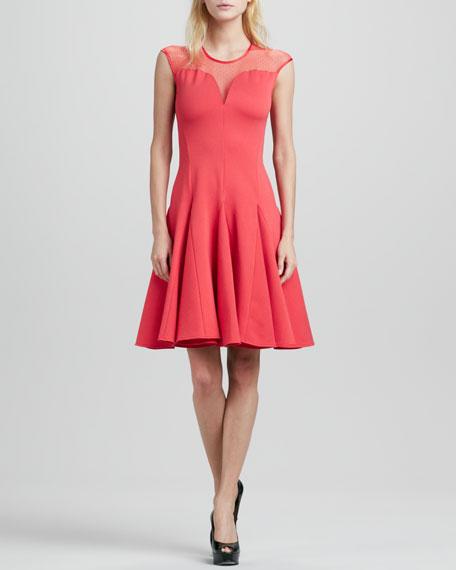 Cap-Sleeve Ponte Illusion Godet Dress