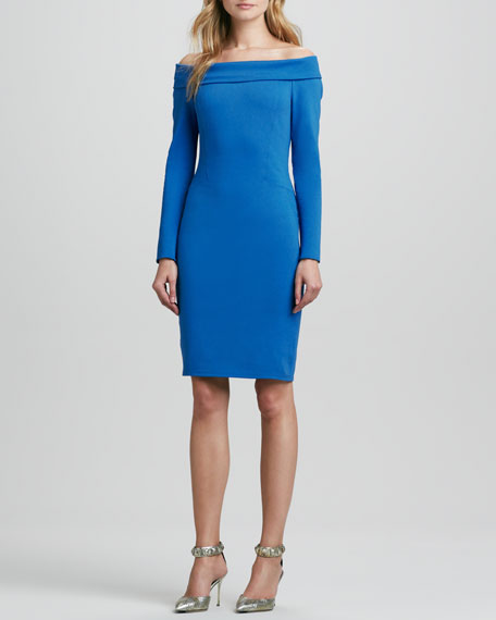 Long-Sleeve Off-Shoulder Ponte Dress, Sapphire