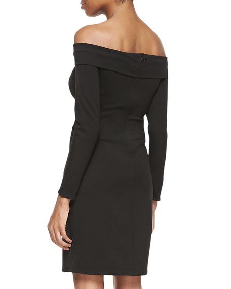 Long-Sleeve Off-Shoulder Ponte Dress, Black