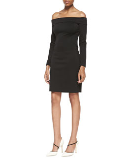 Halston Heritage Long-Sleeve Off-Shoulder Ponte Dress, Black
