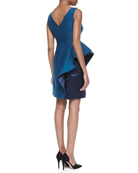 Two-Tone Ruffle Boat-Neck Dress, Dark Cadmium
