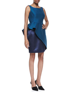 Halston Heritage Two-Tone Ruffle Boat-Neck Dress, Dark Cadmium