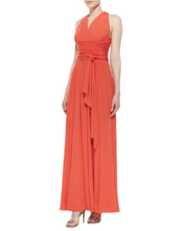 Halston Heritage Cross-Back Jersey Gown, Fire