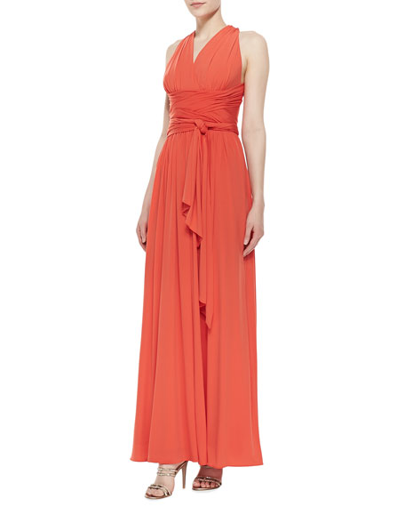 Cross-Back Jersey Gown, Fire