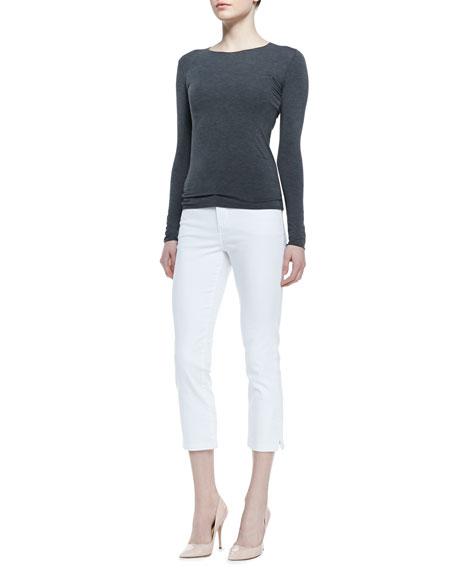 Joan Long Denim Cropped Pants, White