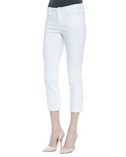Christopher Blue Joan Long Denim Cropped Pants, White