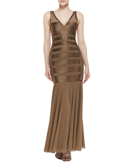 Sleeveless Vertical/Horizontal Stripe Gown, Bronze
