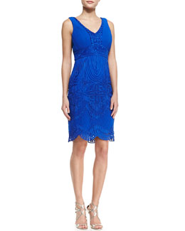 Sue Wong Sleeveless Embroidered Scallop Bottom Cocktail Dress, Cobalt