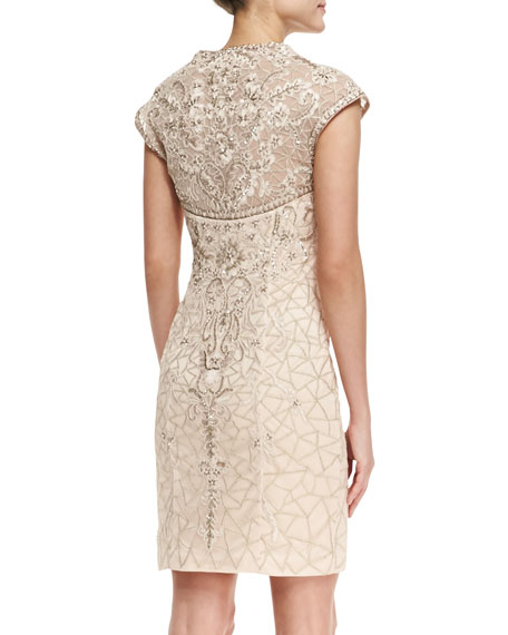 Cap-Sleeve Embroidered Lace Cocktail Dress, Blush