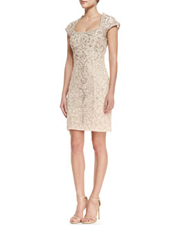Sue Wong Cap-Sleeve Embroidered Lace Cocktail Dress, Blush