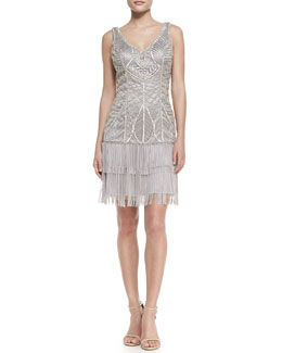 Sue Wong Sleeveless Embroidered Fringe-Hem Cocktail Dress, Platinum