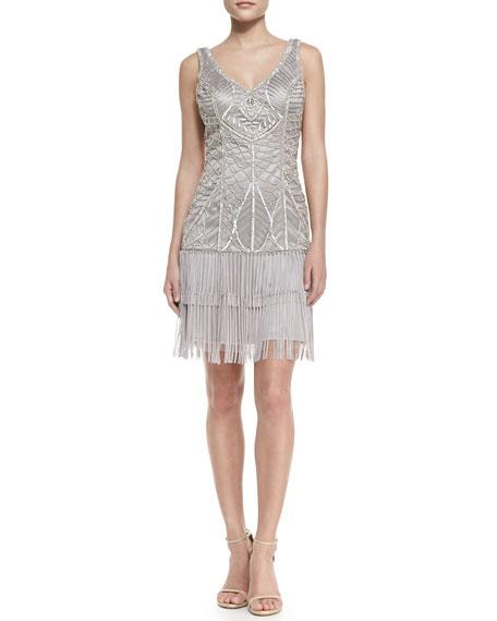 Sleeveless Embroidered Fringe-Hem Cocktail Dress, Platinum