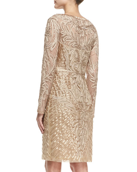 sue wong longsleeve embroidered lace cocktail dress beige