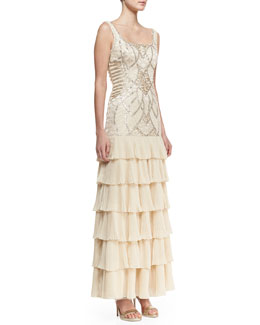 Sue Wong Sleeveless Embroidered & Sequined Bodice Gown, Champagne