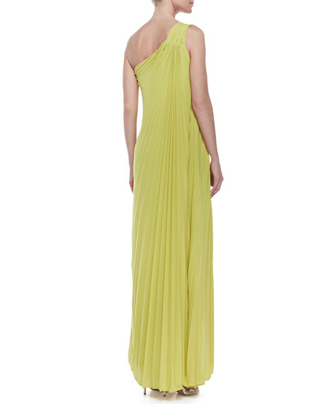 One-Shoulder Pleated Gown, Chartreuse