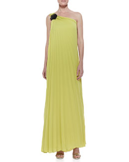 Halston Heritage One-Shoulder Pleated Gown, Chartreuse