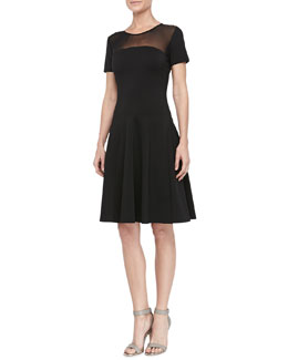 Halston Heritage Mesh-Top Flared Dress, Black