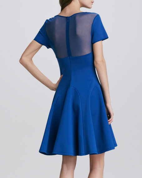 Mesh-Top Flared Dress
