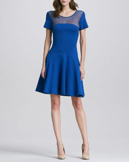 Halston Heritage Mesh-Top Flared Dress