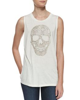 Haute Hippie Python-Print-Skull Tank