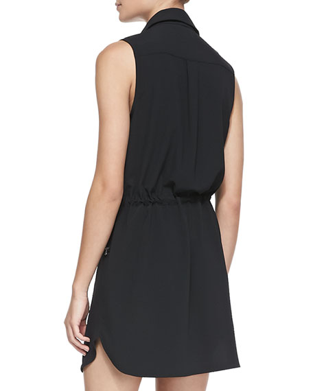 Jersey Zip-Pocket Sleeveless Shirtdress