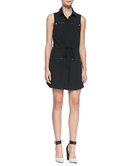 Haute Hippie Jersey Zip-Pocket Sleeveless Shirtdress