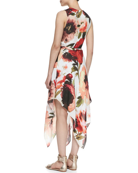 Rose-Print Asymmetric Wrap Dress
