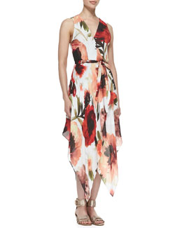 Haute Hippie Rose-Print Asymmetric Wrap Dress