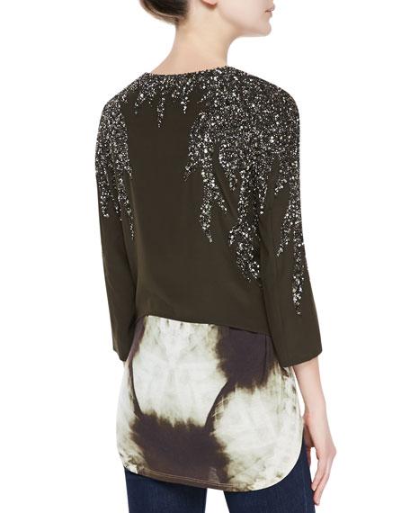 Flame Embellished Drape Jacket