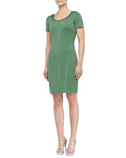 Halston Heritage Scoop-Neck Ponte Dress, Loden