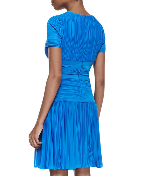 Short-Sleeve Pleated A-line Dress, Aquamarine