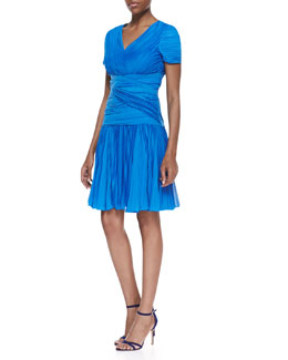 Halston Heritage Short-Sleeve Pleated A-line Dress, Aquamarine